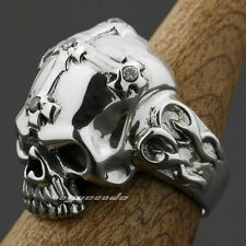 925 Sterling Silver Skull Corss CZ Stone Mens Ring 9G013D US Size 7.5~13.5