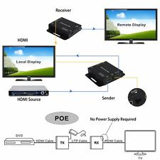 1080p HDMI Extender POE Over Single RJ45 Cat5e/6 UTP Up 50m/164ft + IR extends