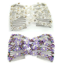 2pcs Ez Comb Crystal Beaded Hair Comb Stylish Stretch Double Ez Clips Hair clips