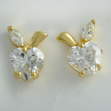 Fashion Earrings Lovely 9K Gold Filled Clear CZ/Red Ruby Apple Stud Earrings