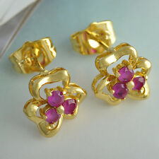 HOT 18K Yellow Gold Filled Rainbow crystal Crystal Womens Flower Stud Earrings