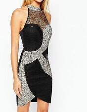 BNWT Lipsy Michelle Keegan Swirl Sequin Lace High Neck Bodycon Dress *SALE*