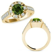 1.75 Carat Green Round Diamond  Solitaire Halo Engagement Ring 14K Yellow Gold