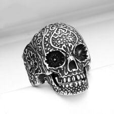 316L Stainless Steel Fashion Men Punk Floral Skull Biker Ring Jewelry Size 7-13