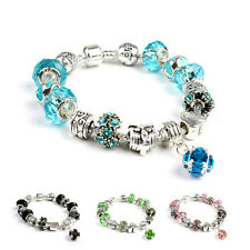 Charm Crystal European Bracelets Rhinestone Beaded Bangles For Women Girls Gift
