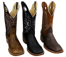 Men Cowboy Boots Genuine Cowhide Leather Bulldog Square Toe Rodeo Western Boots