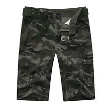 Mens Outdoor Cargo Solid Camo Military camouflage Pockets Baggy Shorts Combat US