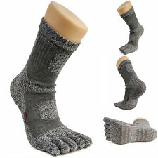 Women's Crew Sports Running Cycling Coolmax Cotton Five Finger 5 Toe Socks Gray