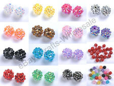 10Pcs Mixed Colours Resin Rhinestones Round Ball Charms Spacer Beads 12MM 14MM
