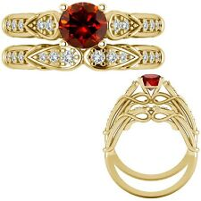 0.50 Ct Red Diamond Designer Wedding Promise Ladies Ring + Band 14K Yellow Gold