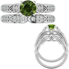 1 Carat Green Diamond Designer Wedding Promise Ring + Band 14K White Gold