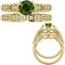 0.5 Ct Green Diamond Designer Wedding Promise Ladies Ring + Band 14K Yellow Gold
