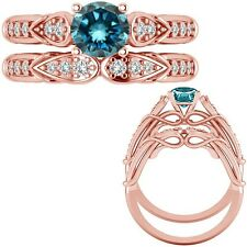 1.25 Ct Blue Diamond Designer Wedding Promise Ladies Ring + Band 14K Rose Gold