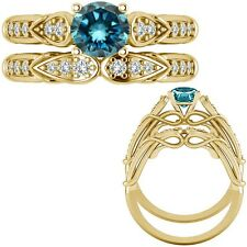 0.50 Ct Blue Diamond Designer Wedding Promise Ladies Ring + Band 14K Yellow Gold