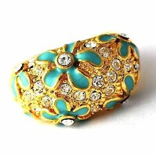 Vintage Womens Blue Enamel Flower CZ Yellow Gold Filled Big Ring Size 7 8 9