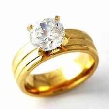 Vintage Womens Yellow Gold Filled Crystal Wedding primise Band Ring Size 6 7 8 9