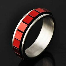 Vintage Womens Stainless Steel Red Square Piece Spinner love Band Ring Size 6-9