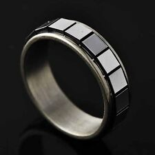 Mystic Womens Stainless Steel lucky Square Spinner punk Band Ring Size 6-9