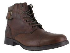 Red Tape Croxdale Mens Casual Military Dark Tan Leather Lace Up Ankle Boots