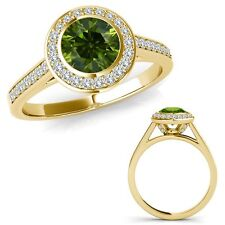1.25 Carat Green Diamond Fancy Halo Channel Anniversary Ring Set 14K Yellow Gold