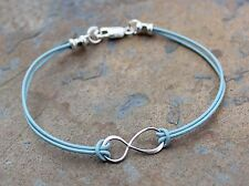 Infinite Love - Infinity Anklet or Bracelet- sky blue leather & sterling silver