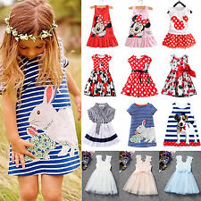 New Lovely Baby Kid Girls Princess Mini Dress Party Summer Beach Sundress Outfit