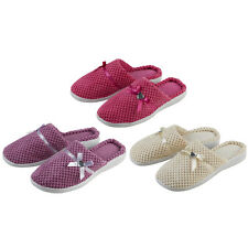 Ladies Forever Dreaming Mule Slippers Heart Diamante Satin Bow In 3 Colours