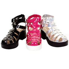 Ladies Salt & Pepper Chunky Heel Patent Gladiator Casual Sandals In 3 Colours