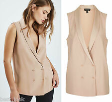 TOPSHOP Double Breasted Sleeveless Jacket Blazer in Blush Size 6 to 16