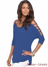 Strappy Cold Shoulder Hammock 3/4 Sleeve Low Hem Long Cut Out Tunic Tops Blouses