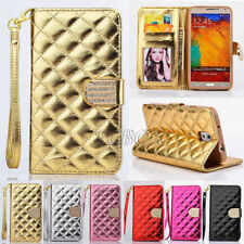 Bling Rhombic Lattice Glossy PU Leather Card Slot Wallet Case For Samsung Galaxy