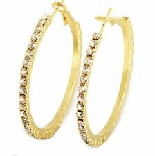 Vintage Big Large 18K Gold Plated Crystal Womens Hoop Earrings Earings 45mm/55mm