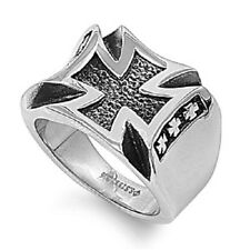 Iron Cross Ring, Stainless Steel Christian Style, Modern Elegant Design, Mens