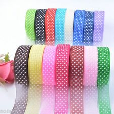 25Yards 25mm Dot Satin Edge Sheer Organza Ribbon Bow Craft Wedding Free DIY