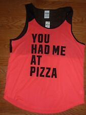 """VICTORIAS SECRET PINK """"YOU HAD ME AT PIZZA"""" JERSEY TANKTOP TEE NWT"""