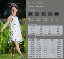 Girls Kids Sleeveless Embroidered Cotton  Summer Party Dress