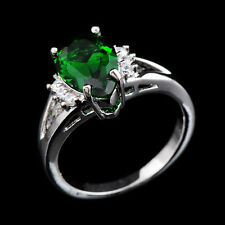 CZ Engagement Ring Green Crystal Emerald Lady's 10Kt White Gold Filled Size 6-10