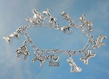Dog Lovers Charm Bracelet - Pewter charms on stainless steel chain