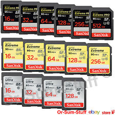 SanDisk 16,32,64,128,26,512GB ULTRA EXTREME UHS-I/3 SDHC/XC Memory Card Class 10