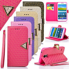 NEW Gold Embossing PU Leather Card Pocket Wallet Case Shell For Samsung Galaxy