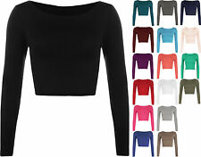 WOMENS ROUND NECK LONG SLEEVE CROP TOP T SHIRT TOPS LADIES CROP TOP SIZE 8-14