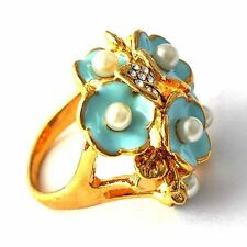 Women 14K gold filled CZ Pearl Teal Enamel Flower Cocktail Band Ring Size 7-9