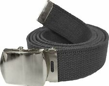 BLACK BELT WITH CHROME BUCKLE 100% Cotton Military Web Belts Rothco 4294