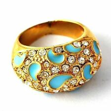 Womens Gold Filled Blue Enamel Clear Crystal Cocktail Ring Size 6 7 8 9 10