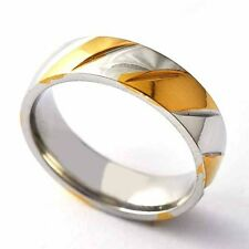 Trendy Womens Mens Titanium Gold plating Twill Band Ring Size 8-12