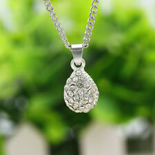 Hot Fashion Twinkle Teardrop Crystal Pendant Necklace Party Jewelry Gold silver