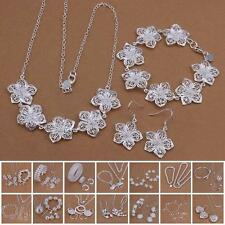 Fine 925 Sterling Silver Plated Chain Bracelet Earring Necklace Jewelry Set