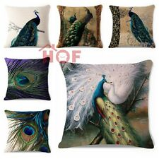 Decorative Throw Pillow Case Modern Vintage Peacock Feather Cushion Cover 18""