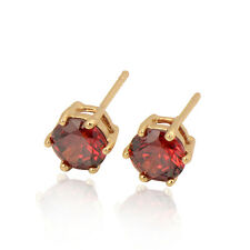 Womens 14K Yellow Gold Filled Colorful Cubic Zirconia Stud Earring
