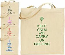 Keep Calm And Carry On Golfing Large Cotton Tote Shopping Bag Friend Gift Golf